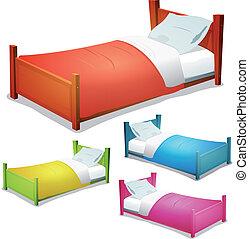 セット, 漫画, ベッド