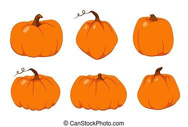 セット, 秋, 感謝祭, カボチャ, 平ら, ベクトル, オレンジ