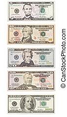 セット, 紙幣, 上に, ドル, 隔離された, アメリカ人, white.