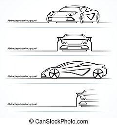 セット, 自動車, 抽象的, スポーツ, 4, silhouettes.