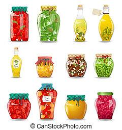 セット, 野菜, きのこ, 蜂蜜, ガラス, フルーツ, デザイン, 維持された, ジャー, あなたの