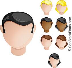 セット, 頭, 人々, 毛, 色, 4, 皮膚, female., マレ
