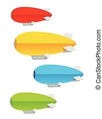 セット, 飛行船, カラフルである, vector.