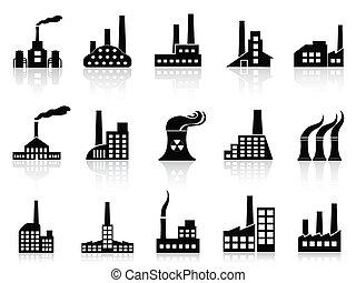 セット, 黒, 工場, アイコン