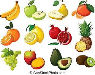 セット, fruit., おいしい, 隔離された