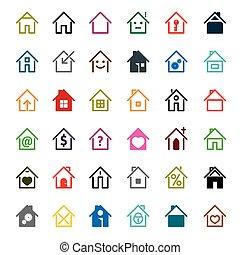 セット, illustration., 色, 家, ベクトル, icon.