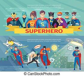 セット, superhero, チーム, 旗