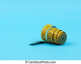 センチメートル, テープ, バックグラウンド。, 青