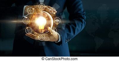 セービング, 供給される, エネルギー, 源, 運動をすること, 地球, 概念, イメージ, day., 白熱, 保有物, 味方, 要素, 手, 生態学的, environment., 電球, これ, ライト, s, nasa, 支持できる, icon., businessman'