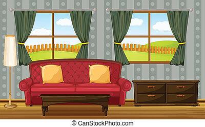 ソファー, 側, 赤いテーブル
