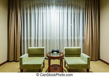 ソファー, 椅子, 部屋, カーテン