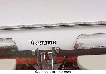 タイプされる, typewriter., 単語, 型, 履歴書