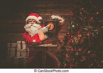 タイムレコーダー, claus, 木製である, santa, 提示, 内部, 家