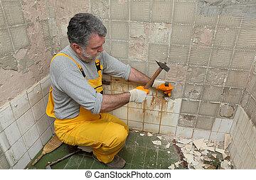 タイル, 住宅改修, demolish