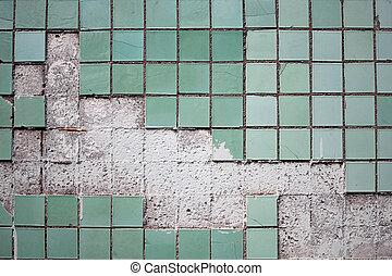 タイル, 古い, 壁, 手ざわり