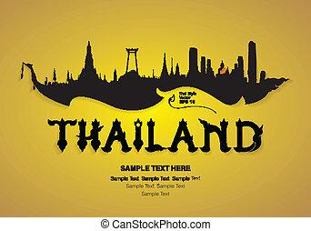 タイ, 旅行, ベクトル, デザイン
