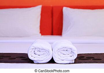 タオル, ホテル, ベッド, きれいにしなさい, 白