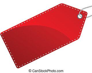 タグ, 隔離された, イラスト, ラベル, 単一, ベクトル, 赤