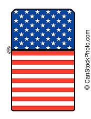 タバコ, アメリカ, より軽い, 旗