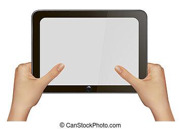 タブレット, デジタルのイラスト, ベクトル, pc., 手を持つ