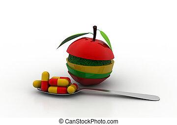 タブレット, ビタミン, アップル