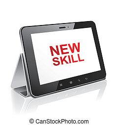 タブレット, 技能, テキスト, ディスプレイ, コンピュータ, 新しい