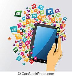 タブレット, app, icons., 手, pc, 人間, デジタル