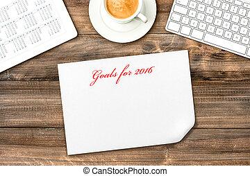 タブレット, calendar., ゴール, デジタル, resolutions, 2016