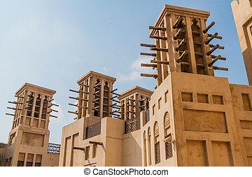 タワー, jumeirah, 伝統的である, u, madinat, 風, ドバイ