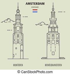 タワー, munttoren, アムステルダム, ランドマーク, netherlands., montelbaanstoren, アイコン