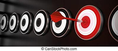 ターゲット, 衝突, 中心, 多数, 上に, スタイル, 1(人・つ), ターゲット, 黒い背景, 横, さっと動きなさい, 旗, 反射, 赤