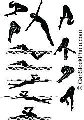 ダイビング, シルエット, 水泳, 女性, &