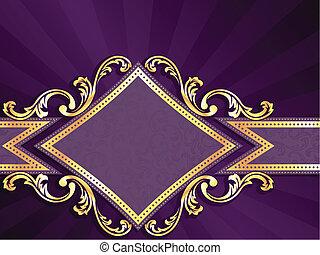 ダイヤモンド, 金, 形づくられた, 紫色, &, 旗