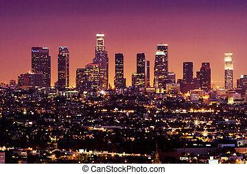 ダウンタウンに, アメリカ, アンジェルという名前の人たち, los, スカイライン, 夜, カリフォルニア