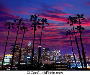 ダウンタウンに, la, アンジェルという名前の人たち, los, スカイライン, 日没, 夜, カリフォルニア