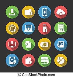 ダウンロード, シンボル, セット, インターネットアイコン