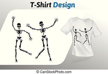 ダンス, の上, 隔離された, tシャツ, バックグラウンド。, print., ベクトル, 黒, 2, デザイン, 白, テンプレート, template., mock, sceletons