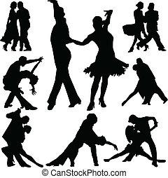 ダンス, ベクトル, シルエット, 人々