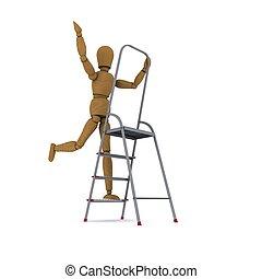 ダンス, 木製である, レンダリング, 人, 3d, stepladder.