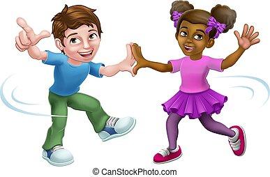 ダンス, 男の子, 子供, 子供, 漫画, 女の子