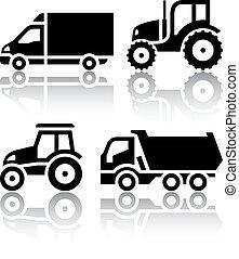 ダンプカー, セット, アイコン, -, 輸送, トラクター