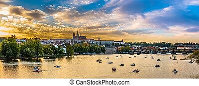 チェコ, プラハ, パノラマである, vltava, 共和国, 川, ボート, 光景