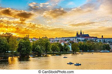 チェコ, プラハ, vltava, 共和国, 川, ボート