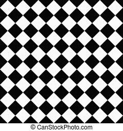 チェッカー, 生地, 対角線, 黒い背景, textured, 白