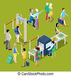チェックポイント, 等大, baggage., 人々, イラスト, 列, 空港, ベクトル, セキュリティー