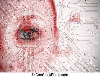 チャート, インターフェイス, 分析, 板, 終わり, 回路, 背景, の上, 目, 赤, 女