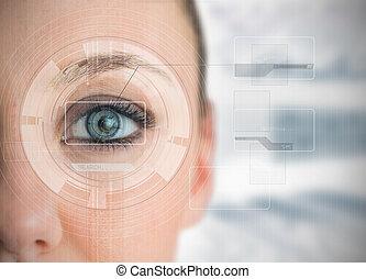 チャート, 分析, 終わり, 青, interfaces, の上, 目, 女