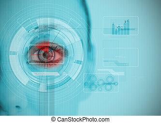 チャート, 分析, datas, 終わり, interfaces, の上, 目, 女