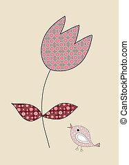 チューリップ, わずかしか, イラスト, かわいい, 鳥