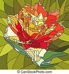 チューリップ, モザイク, flower.